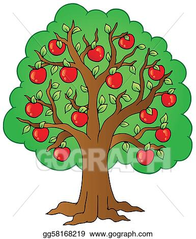 eps illustration cartoon apple tree vector clipart gg58168219 rh gograph com clipart apple tree free clipart apple tree black and white