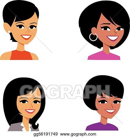 vector art cartoon avatar portrait illustration women clipart