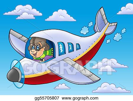 Drawing Cartoon Aviator On Blue Sky Clipart Drawing Gg55705807 Gograph
