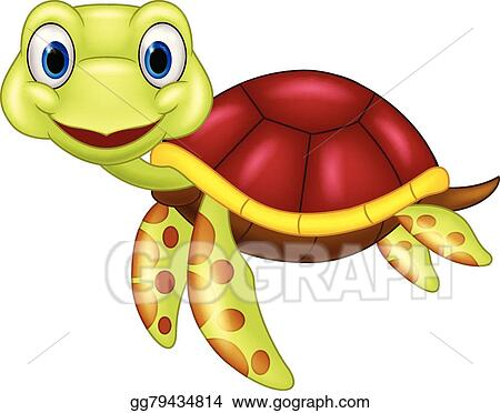 Eps Vector Cartoon Baby Cute Turtle Stock Clipart Illustration