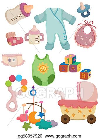 eps vector cartoon baby stuff icon stock clipart illustration rh gograph com baby boy stuff clipart free baby stuff clipart