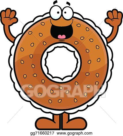 vector art cartoon bagel happy clipart drawing gg71660217 gograph rh gograph com Coffee and Bagels Clip Art Cream Cheese and Bagels Clip Art
