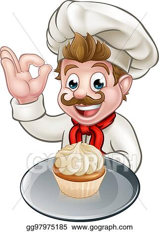Vector Stock Cartoon Baker Or Pastry Chef Clipart Illustration Gg97975185 Gograph