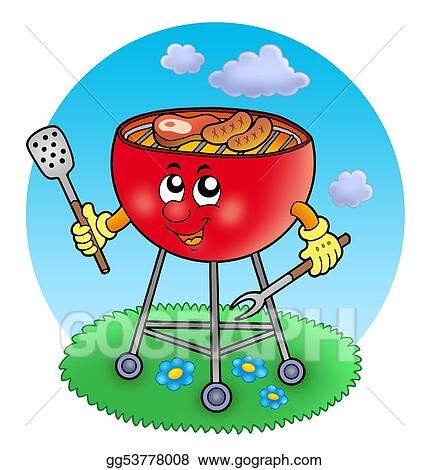 stock illustration cartoon barbeque in garden clipart drawing