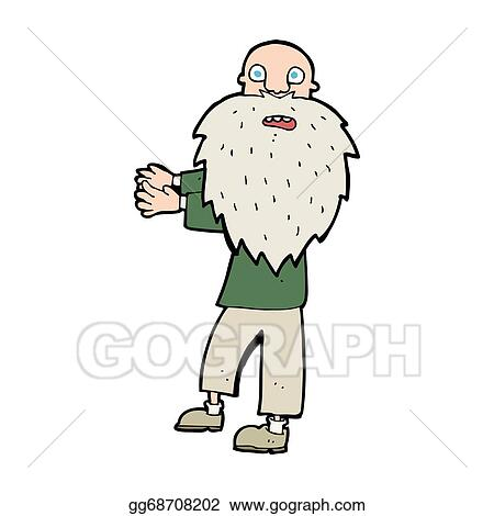 Athletic Old Man Doing Squat Exercise Cartoon Elderly Character With Gray Beard In Sport Outfit