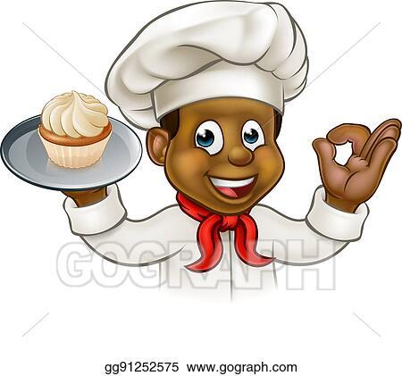 EPS Illustration - Cartoon black baker or pastry chef ...