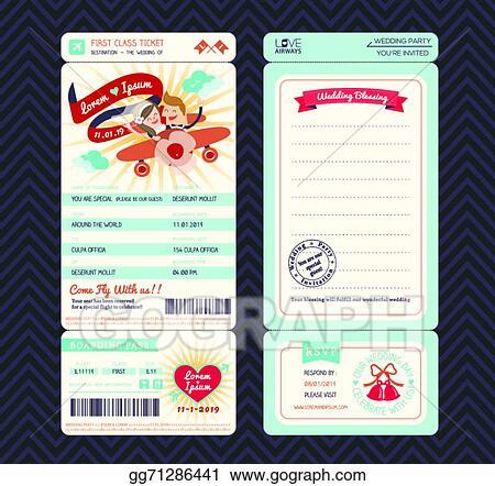 Vector Stock Cartoon Boarding Pass Ticket Wedding Invitation