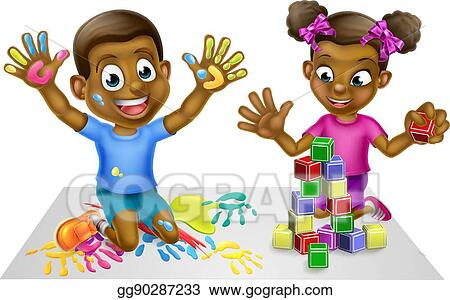 Vector Stock Cartoon Boy And Girl With Paint And Blocks Stock