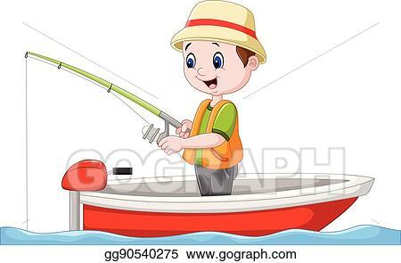 Vector Art Cartoon Boy Fishing On A Boat Clipart Drawing Gg90540275 Gograph