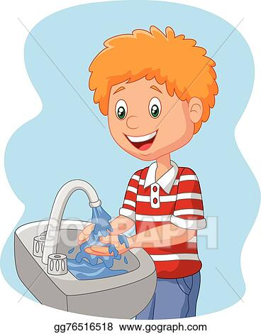 EPS Vector - Cartoon boy washing hand . Stock Clipart ...