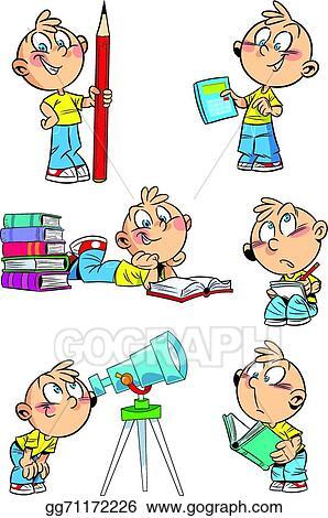 vector illustration cartoon boy with school subjects stock clip