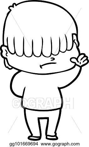 Vector Clipart Cartoon Boy With Untidy Hair Vector Illustration
