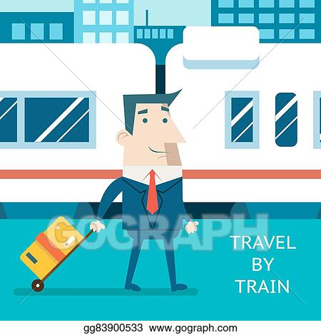 Cartoon Businessman Character Travel Vacation Mobile Business Marketing Railway Station Background Modern Flat Design Vector Illustration