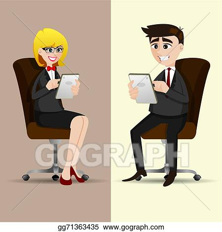 Eps Illustration Cartoon Businesspeople Sitting On Chair And Using