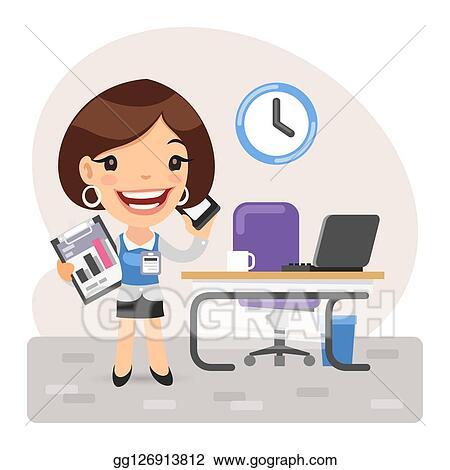 Vector Art Cartoon Businesswoman Manager Clipart Drawing Gg126913812 Gograph