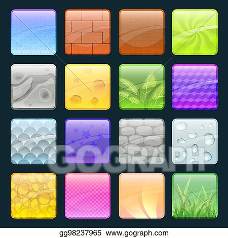 Cartoon Buttons Set With Different Textures Vector Elements For Game Design