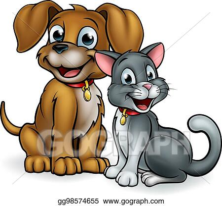 Vector Art Cartoon Cat And Dog Pets Clipart Drawing Gg98574655