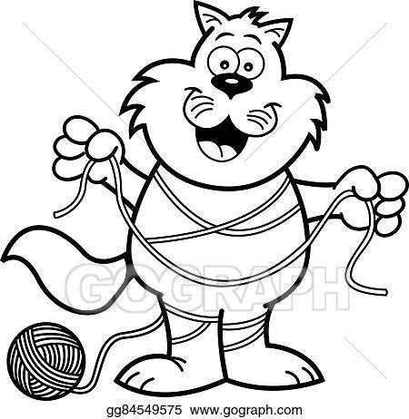 Vector Art Cartoon Cat Tangled In Yarn Eps Clipart Gg84549575 Gograph