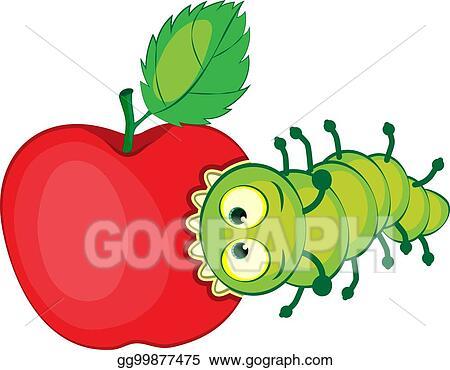 Eps Vector Cartoon Caterpillar Gnaws Apple Stock Clipart