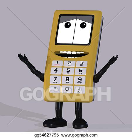 Stock Illustrations Cartoon Cell Phone With Cute And Funny Emotional Face Stock Clipart Gg54627795 Gograph