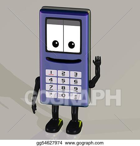 Stock Illustrations Cartoon Cell Phone With Cute And Funny Emotional Face Stock Clipart Gg54627974 Gograph