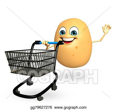 Clip Art Cartoon Character Of Potato Fruit With Trolley Stock Illustration Gg79627276 Gograph