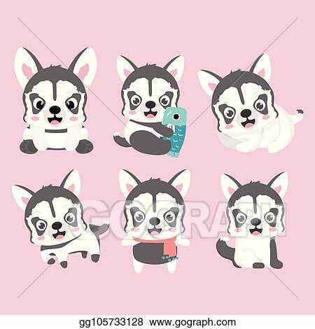 Eps Illustration Cartoon Character Siberian Husky Vector Clipart Gg105733128 Gograph