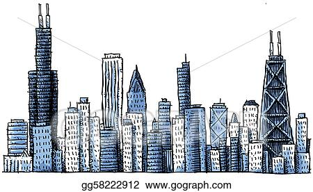 stock illustration cartoon chicago skyline clipart drawing rh gograph com Chicago Black and White Chicago Black and White