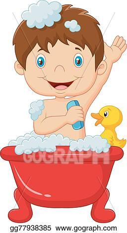 Vector Stock Cartoon Child Taking A Bath Stock Clip Art Gg77938385 Gograph