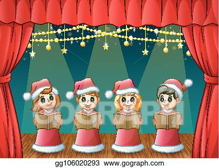 14cbb09667d71 Cartoon children in red Santa costume singing Christmas carols on the stage