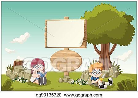 Vector Stock Cartoon Children Reading Clipart Illustration