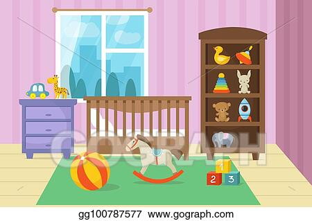 Vector Clipart - Cartoon childrens room interior with kid toys ...