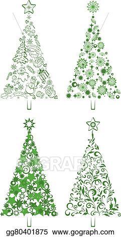 Christmas Holiday Clipart.Vector Stock Cartoon Christmas Holiday Trees Clipart