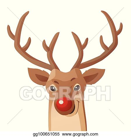 28aef54699796 Cartoon Christmas illustration. Funny Rudolph red nose reindeer isolated on  white. Vector.