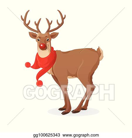 2343aafc778df Cartoon Christmas illustration. Funny Rudolph red nose reindeer with scarf  isolated on white. Vector.
