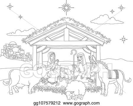 Christmas Scene Drawing.Vector Art Cartoon Christmas Nativity Scene Coloring