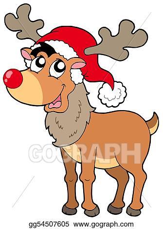 drawing cartoon christmas reindeer clipart drawing gg54507605 rh gograph com christmas reindeer border clipart christmas reindeer clipart black and white