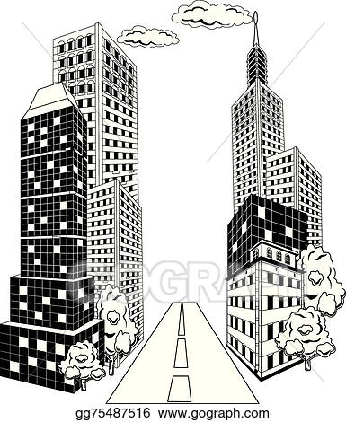 Crowded downtown city cartoon Clipart   k18173713   Fotosearch