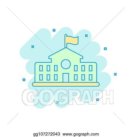 Vector Illustration - Cartoon colored school building icon