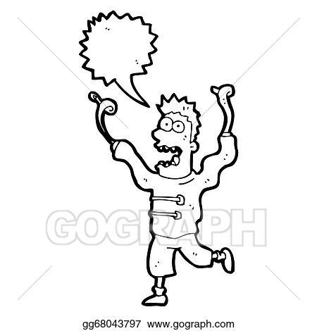 clipart cartoon crazy man in straight jacket stock illustration