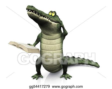 Stock Illustration Cartoon Crocodile Reading Book And Scratching