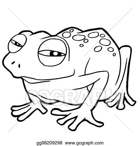 Vector Illustration Cartoon Cute Frog Coloring Page Vector