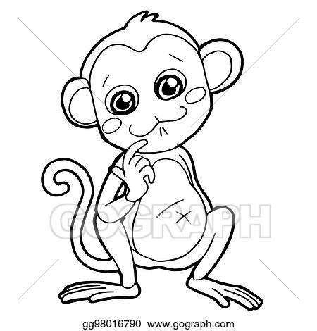 Vector Illustration Cartoon Cute Monkey Coloring Page Vector