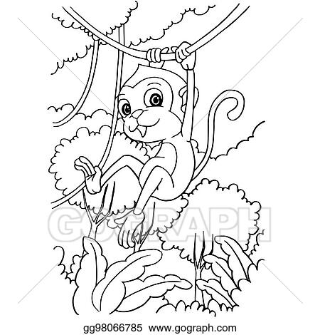 Vector Illustration - Cartoon cute monkey coloring page vector ...