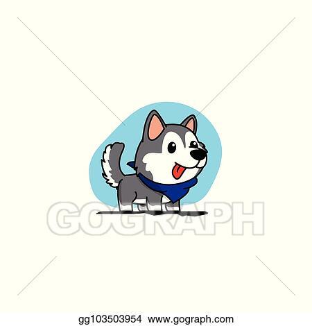 Clip Art Vector Cartoon Cute Siberian Husky Puppy With Blue Scarf Icon Logo Design Vector Illustration Stock Eps Gg103503954 Gograph