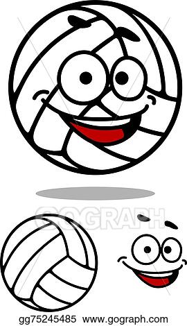 Volleyball cute. Vector art cartoon ball