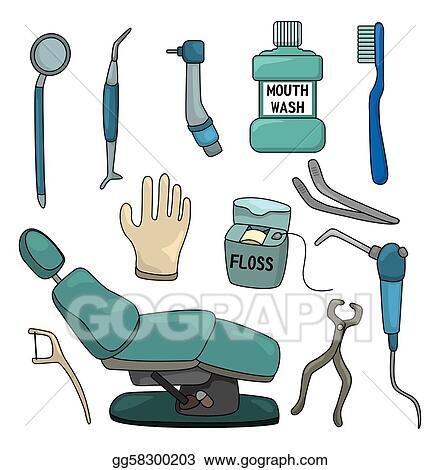 Vector Illustration - Cartoon dentist tool icon set. Stock ...