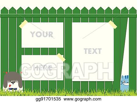 Clip Art Vector Cartoon Dog And Cat On The Green Fence On Blue Sky Background Cute Pets Background Banner With Ads Stock Eps Gg91701535 Gograph
