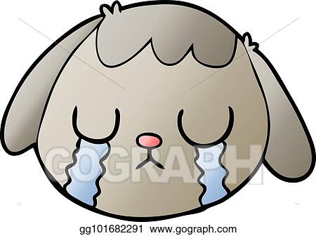 Vector Art Cartoon Dog Face Crying Clipart Drawing Gg101682291