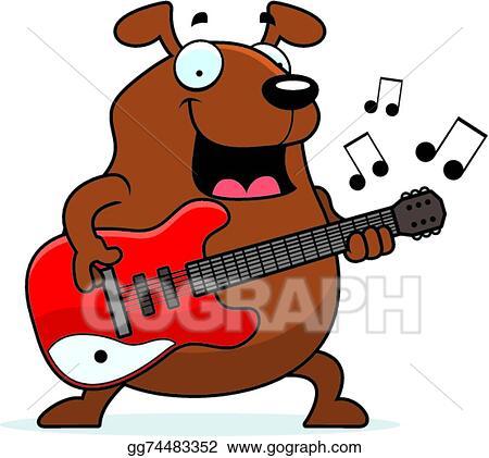 cartoon dog guitar